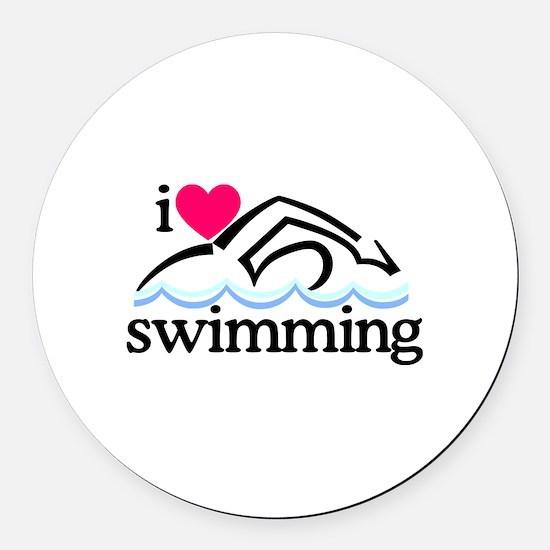 I Love Swimming/Swimmer Round Car Magnet