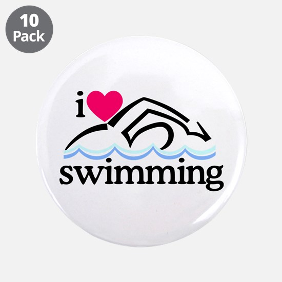 "I Love Swimming/Swimmer 3.5"" Button (10 pack)"