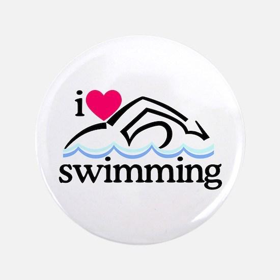 I Love Swimming/Swimmer Button