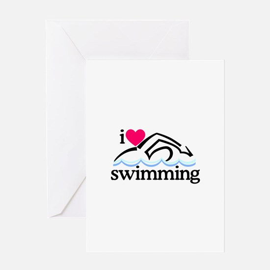 I Love Swimming/Swimmer Greeting Cards