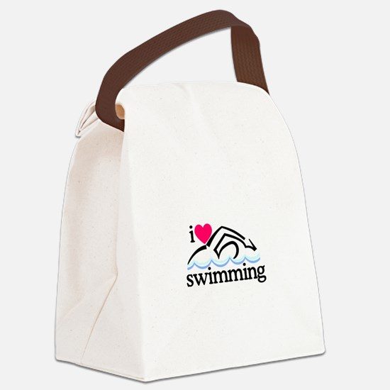 I Love Swimming/Swimmer Canvas Lunch Bag