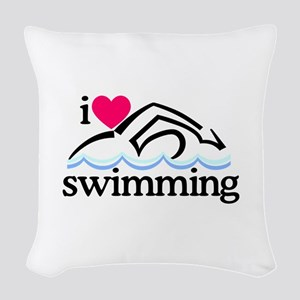 I Love Swimming/Swimmer Woven Throw Pillow