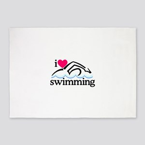 I Love Swimming/Swimmer 5'x7'Area Rug