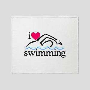 I Love Swimming/Swimmer Throw Blanket