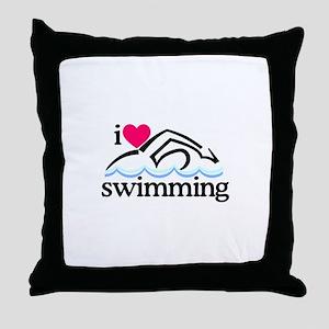 I Love Swimming/Swimmer Throw Pillow