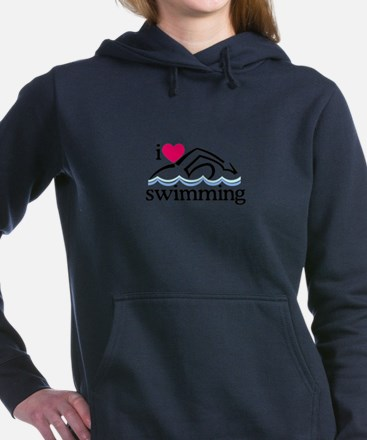 I Love Swimming/Swimmer Women's Hooded Sweatshirt