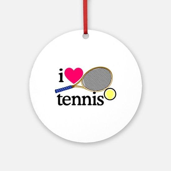 I Love Tennis/Racquet Ornament (Round)