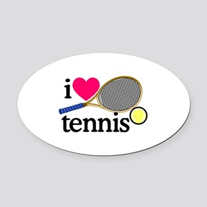 I Love Tennis/Racquet Oval Car Magnet