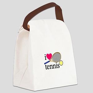 I Love Tennis/Racquet Canvas Lunch Bag