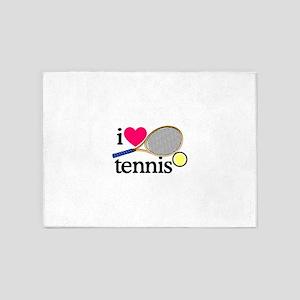 I Love Tennis/Racquet 5'x7'Area Rug
