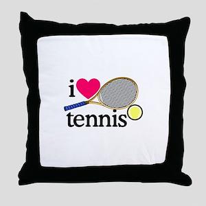 I Love Tennis/Racquet Throw Pillow