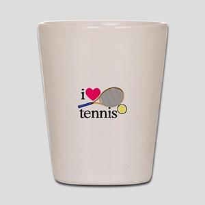 I Love Tennis/Racquet Shot Glass