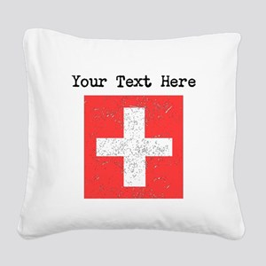 Switzerland Flag (Distressed) Square Canvas Pillow