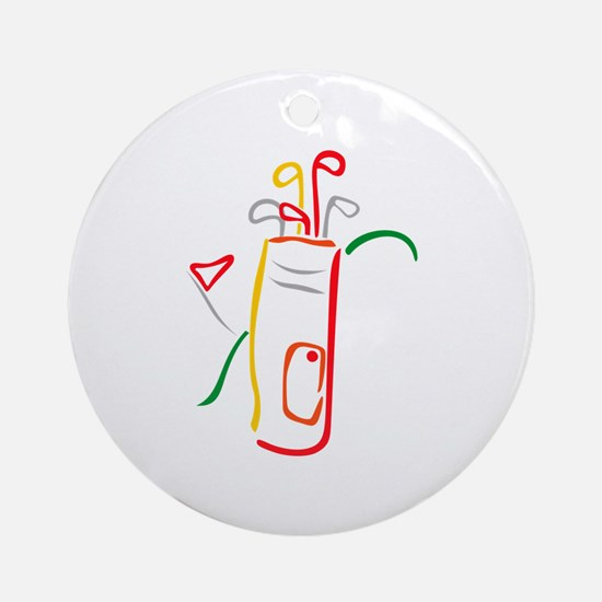 Golf Bag and Green Ornament (Round)
