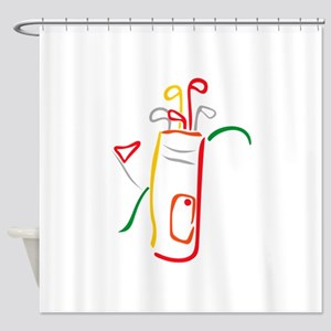 Golf Bag and Green Shower Curtain