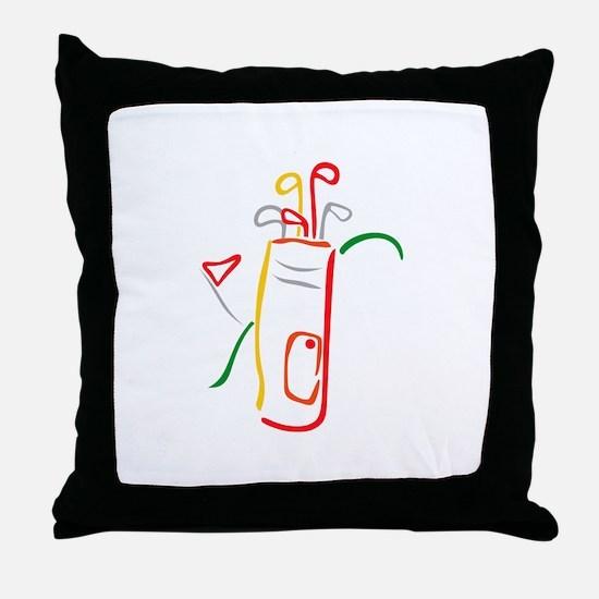 Golf Bag and Green Throw Pillow