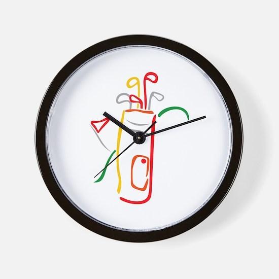Golf Bag and Green Wall Clock