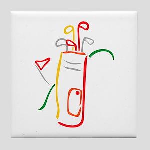 Golf Bag and Green Tile Coaster