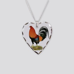Gamecock Wheaten Rooster Necklace Heart Charm