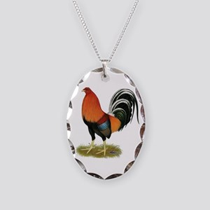 Gamecock Wheaten Rooster Necklace Oval Charm