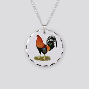Gamecock Wheaten Rooster Necklace Circle Charm