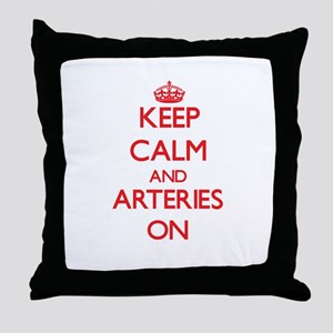 Keep Calm and Arteries ON Throw Pillow