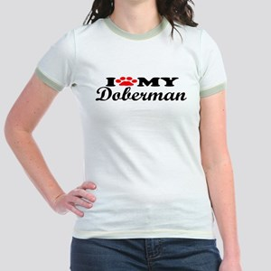 Doberman - I Love My Jr. Ringer T-Shirt