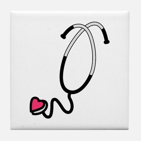 Heart Stethoscope Tile Coaster