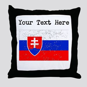 Slovakia Flag (Distressed) Throw Pillow