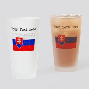 Slovakia Flag (Distressed) Drinking Glass