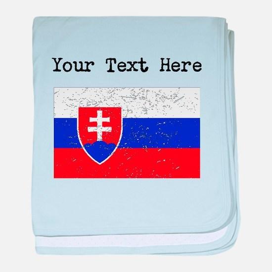 Slovakia Flag (Distressed) baby blanket