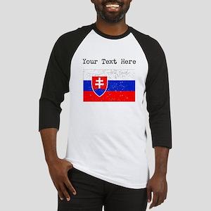 Slovakia Flag (Distressed) Baseball Jersey