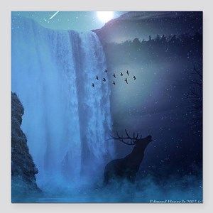 """Wildlife and Waterfalls Square Car Magnet 3"""" x 3"""""""