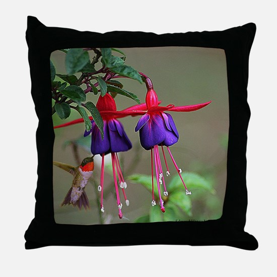 Fuchsia and Hummingbird  Throw Pillow