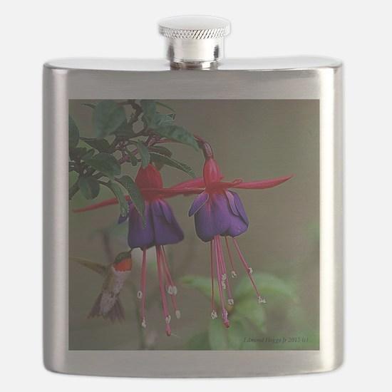 Fuchsia and Hummingbird  Flask