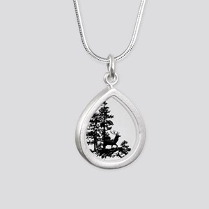 Black White Stag Deer Animal Nature Necklaces
