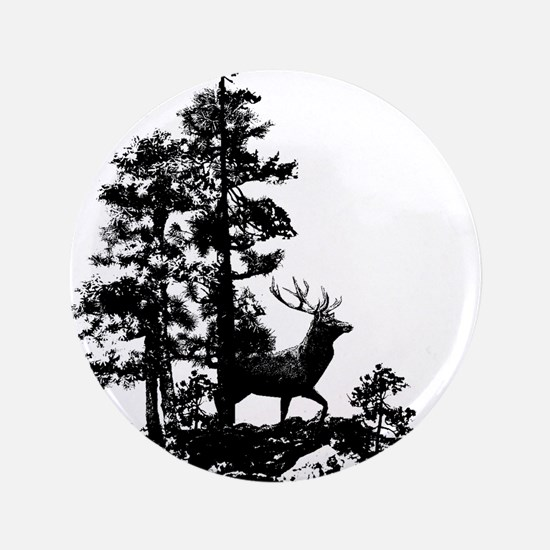 Black White Stag Deer Animal Nature Button
