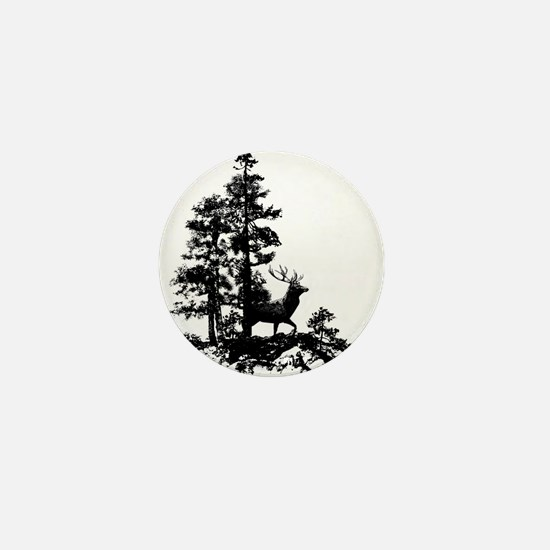 Black White Stag Deer Animal Nature Mini Button