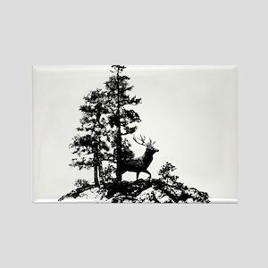 Black White Stag Deer Animal Nature Magnets