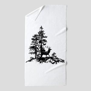 Black White Stag Deer Animal Nature Beach Towel