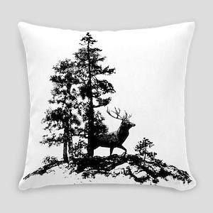 Black White Stag Deer Animal Nature Everyday Pillo