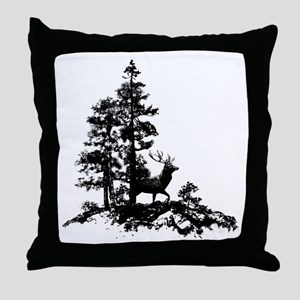 Black White Stag Deer Animal Nature Throw Pillow