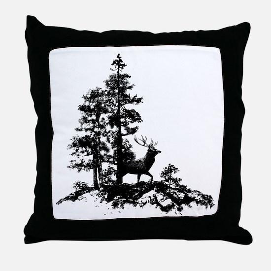 Black White Stag Deer Animal Nature Throw Pillow