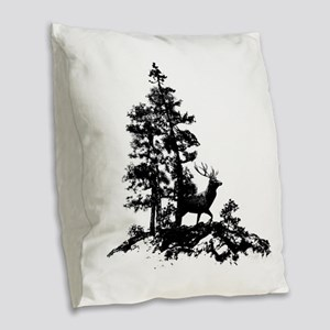 Black White Stag Deer Animal Nature Burlap Throw P
