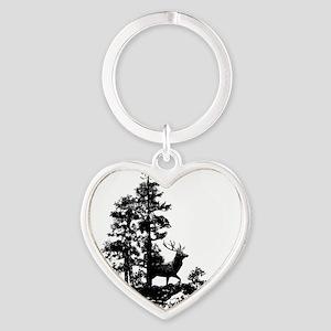 Black White Stag Deer Animal Nature Keychains