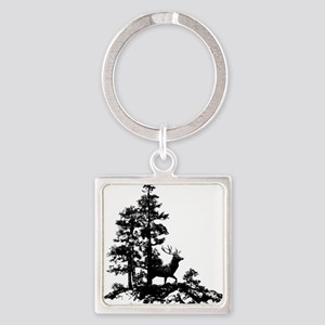 Black White Stag Deer Animal Nature Keychains