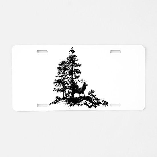 Black White Stag Deer Animal Nature Aluminum Licen