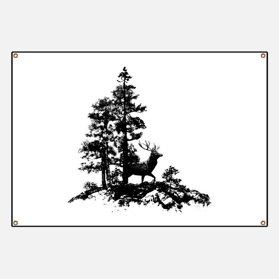 Black White Stag Deer Animal Nature Banner