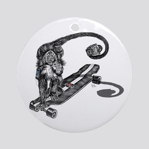 Simian Skateboarder Ornament (Round)