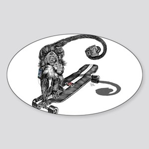 Simian Skateboarder Sticker (Oval)